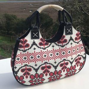 Isabella Fiore Black Red White Cross Stitch Bag